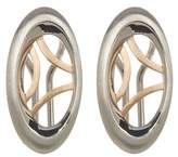 Breuning Sterling Silver & Rose Gold Plated Oval Geo Earrings