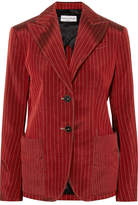 Sonia Rykiel Pinstriped Satin Blazer - Red