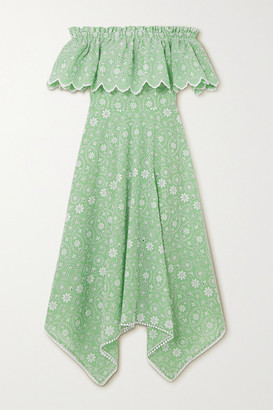 Charo Ruiz Ibiza Khadi Off-the-shoulder Broderie Anglaise Cotton-blend Midi Dress - Green