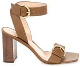 Gianvito Rossi City Buckle Square-Toe Leather Sandals