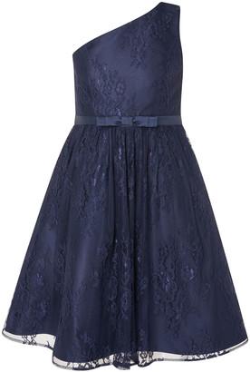 Monsoon Lace One-Shoulder Prom Dress Blue