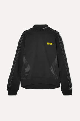 adidas By Alexander Wang By Alexander Wang - Printed Embroidered Cotton-terry And Satin-jersey Sweatshirt - Black