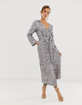 ASOS EDITION wrap midi dress in disc sequin