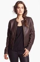 DKNY Collarless Leather Jacket