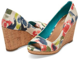 Toms Watercolor Floral Wedge