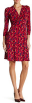 Anne Klein 3/4 Length Sleeve Printed Knot Front Dress