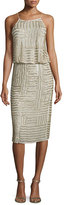 Diane von Furstenberg Samala Silk Embroidered Blouson Dress, Canvas White/Gold