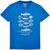 Joules Catch Of The Day Graphic Print T-shirt, Bold Blue