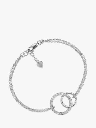 Sif Jakobs Jewellery Cubic Zirconia Sterling Silver Interlinked Ring Chain Bracelet, Silver