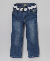 U.S. Polo Assn. Medium Safety Blue & Navy Belted Denim Jeans - Boys