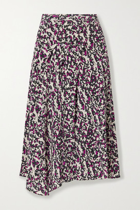 Isabel Marant Cacia Pleated Printed Silk-blend Crepe De Chine Midi Skirt - Purple