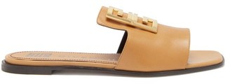 Givenchy 4g-plaque Open-toe Leather Mules - Tan
