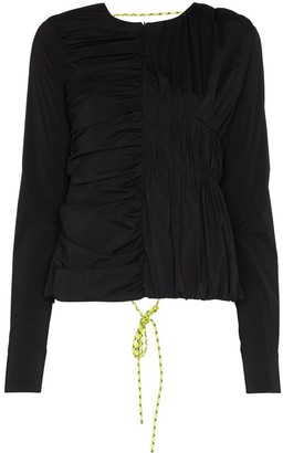 Markoo Lace-Up Ruched Blouse