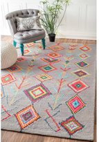 nuLoom Contemporary Handmade Wool/ Viscose Moroccan Triangle Grey Rug (7'6 x 9'6)