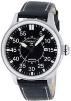Torgoen Pilot T34 Series T34101 45mm Stainless Steel Case Black Leather Mineral Men's Watch