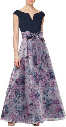 Ignite Off-the-Shoulder Gown with Organza Skirt