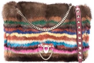 Valentino Multicolor Mink Fur and Leather Chain Shoulder Bag