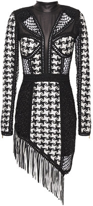 Balmain Fringed Embellished Open Knit And Woven Leather Mini Dress