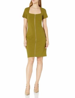 Nanette Lepore Women's Square Neck Short Sleeve Dress with Front Facing Zipper