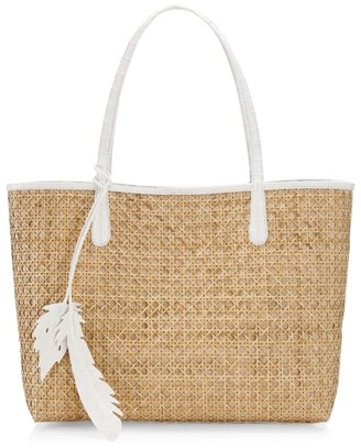 Nancy Gonzalez Medium Erica Crocodile-Trimmed Woven Tote
