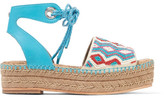 Sam Edelman Neera Bead-embellished Leather Espadrille Sandals - Bright blue