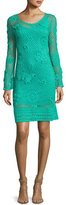 Trina Turk Cottonwood Long-Sleeve Crochet Sweaterdress, Cabana Teal