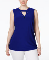 INC International Concepts Plus Size Grommet Keyhole Top, Only at Macy's