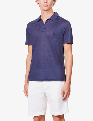 Vilebrequin Brand-embroidered linen-knit polo shirt