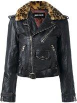 Just Cavalli leopard trim biker jacket