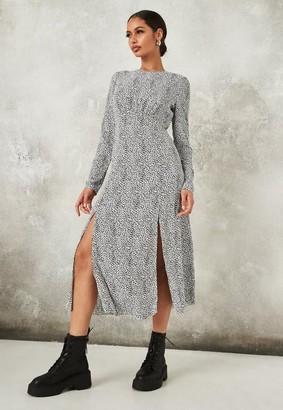 Missguided White Dalmatian Print Long Sleeve Midi Dress