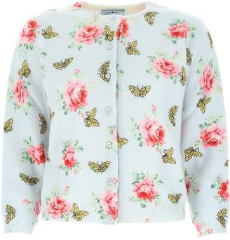 Prada Butterfly Rose Print Cardigan