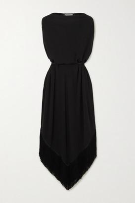 Matteau - Belted Fringed Stretch-jersey Midi Dress - Black
