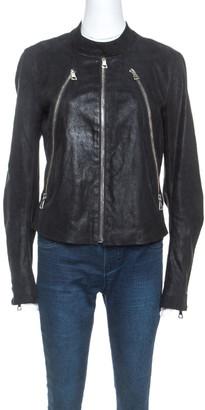 Maison Margiela Black Leather Zip Detail Jacket L