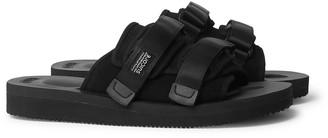 Suicoke Moto-Vs Webbing-Trimmed Suede Sandals