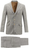 Brunello Cucinelli Single-breasted Linen-blend Hopsack Suit - Mens - Grey