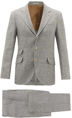 Brunello Cucinelli Single-breasted Linen-blend Hopsack Suit - Grey