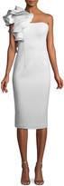 Jovani Marshmallow Ruffle-Shoulder Sheath Cocktail Dress