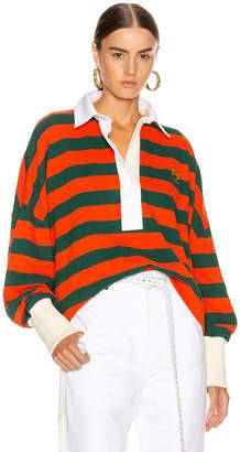Loewe Stripe Polo Top in Orange & Green | FWRD