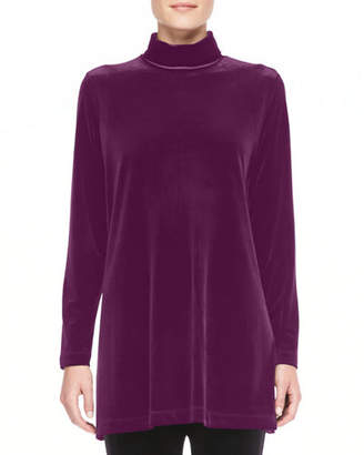 Joan Vass Petite Velour Long-Sleeve Turtleneck Tunic