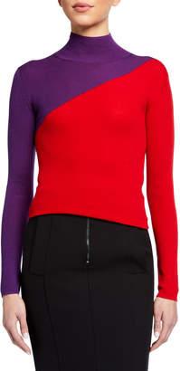 Emporio Armani Colorblock Rib-Knit Turtleneck Sweater