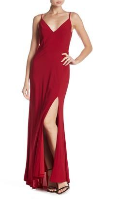 Jump Plunge V-Neck Jersey Gown
