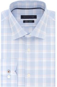 Tommy Hilfiger Men's Slim-Fit Non-Iron Th Flex Performance Stretch Plaid Dress Shirt