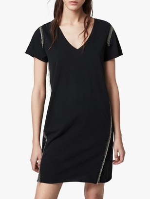 AllSaints Emelyn Chain Tassle Trim Tee Dress, Black