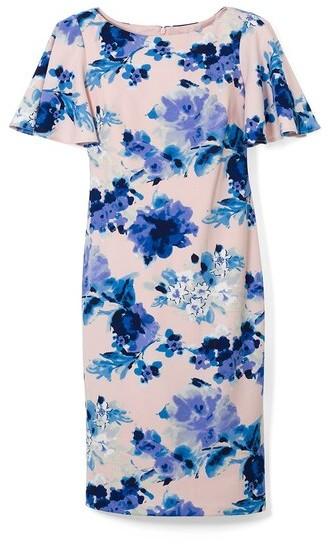 Eliza J Floral Flutter-Sleeve Sheath Dress