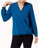 Alfani Petite Embellished Surplice Top, Created for Macy's