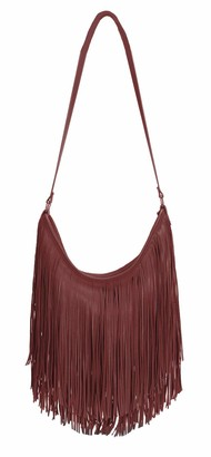 The Olive House Womens Fringe Slouch Leather Look Shoulder Handbag Red Wine