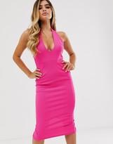 Asos Design DESIGN deep scoop halter neck midi dress