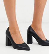 London Rebel wide fit block heel pointed shoes in black