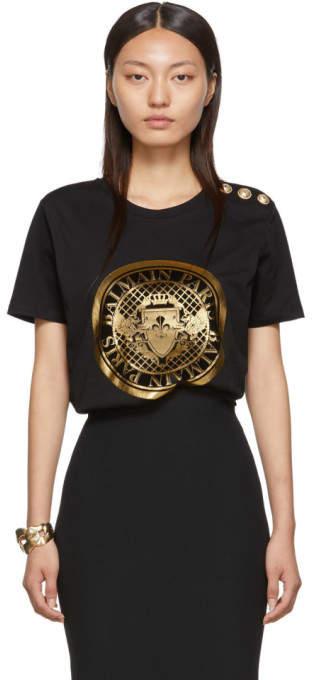 Balmain Black Medallion T-Shirt