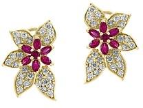Bloomingdale's Certified Ruby & Diamond Exotic Flower Earrings in 14K Yellow Gold - 100% Exclusive